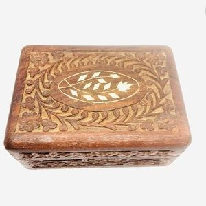 Vintage Hand Carved Wood Trinket Box Made in India